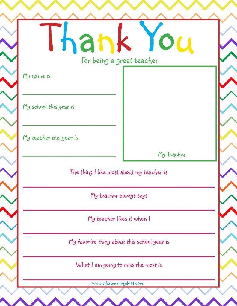 Free Printable Teacher Thank You Note | Educational Fun | Teacher - Thank You Teacher Printables Free