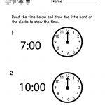 Free Printable Teaching Time Worksheet For Kindergarten   Free Printable Worksheets For Kindergarten Teachers