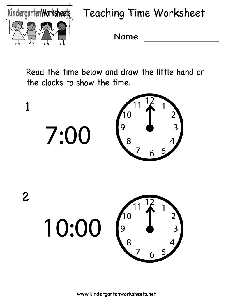 Free Printable Teaching Time Worksheet For Kindergarten - Free Printable Worksheets For Kindergarten Teachers