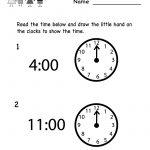 Free Printable Telling Time Worksheet For Kindergarten   Free Printable Telling Time Worksheets