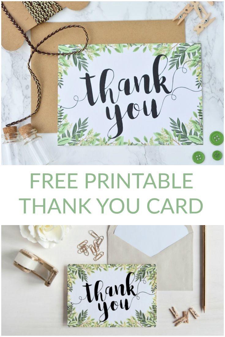 Free Printable Thank You Botanical Inspired Card   Wedding - Free Printable Thank You