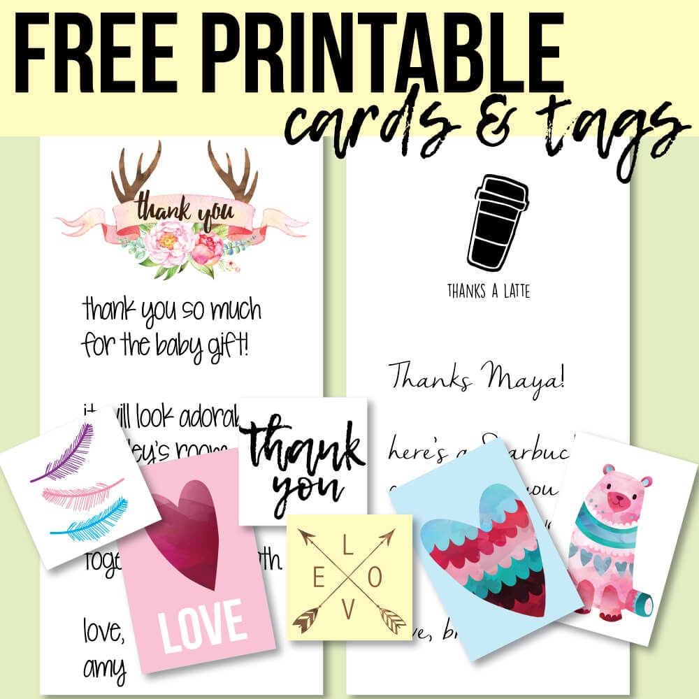 Free Printable Thank You Cards And Tags For Favors And Gifts! - Free Printable Picture Cards