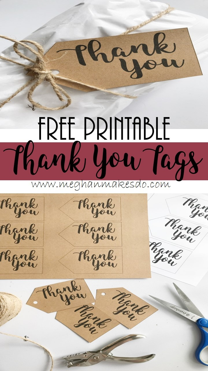 Free Printable Thank You Tags — Meghan Makes Do - Free Printable Thank You