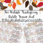 Free Printable Thanksgiving Riddle Treasure Hunt: 18 Mix And Match Clues   Free Printable Sud
