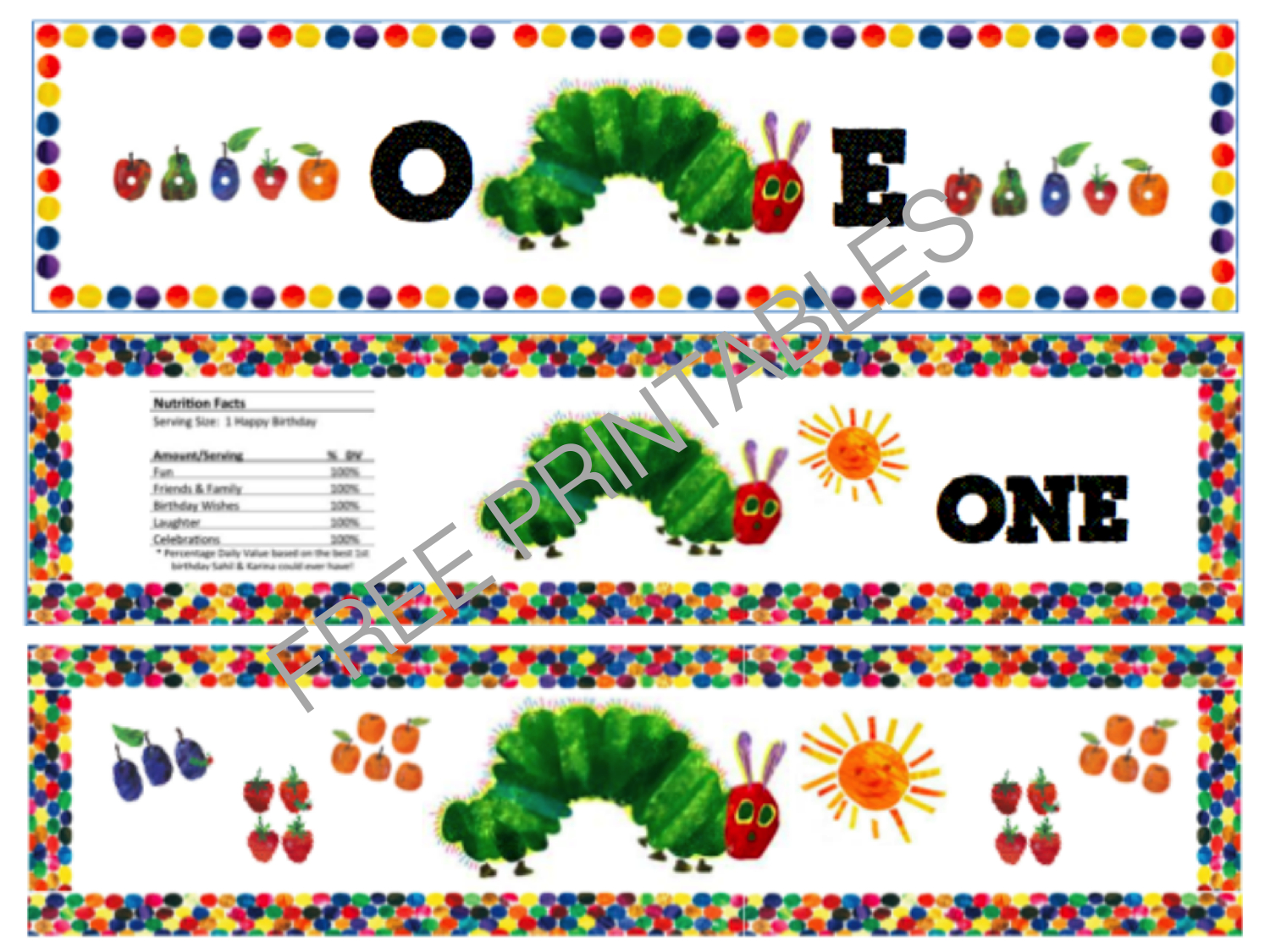 Free Printable: The Very Hungry Caterpillar Birthday Bottle Labels - The Very Hungry Caterpillar Free Printables