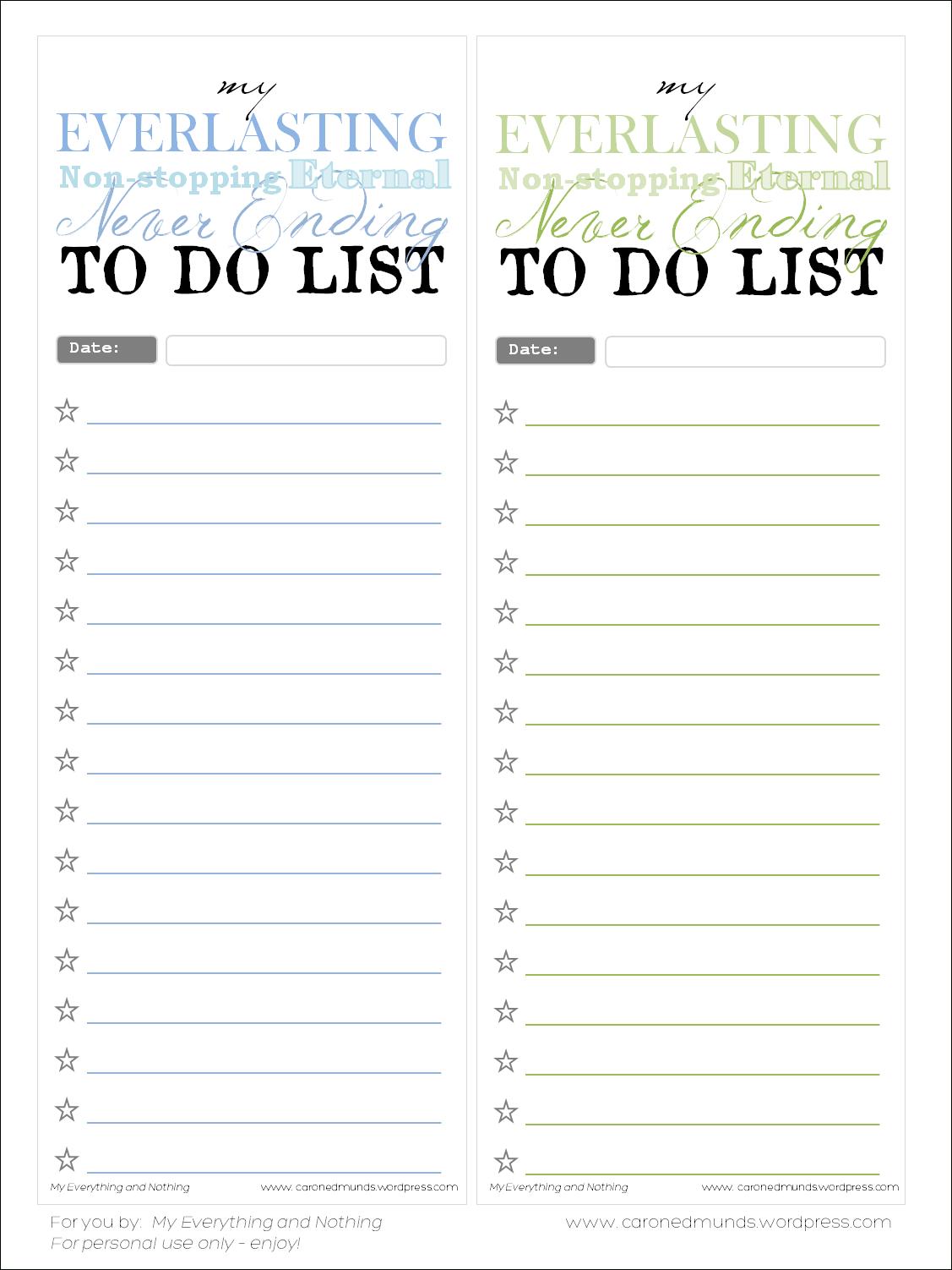 Free Printable – To Do Lists | Printables, Freebies, Diy | To Do - Free Printable List Paper