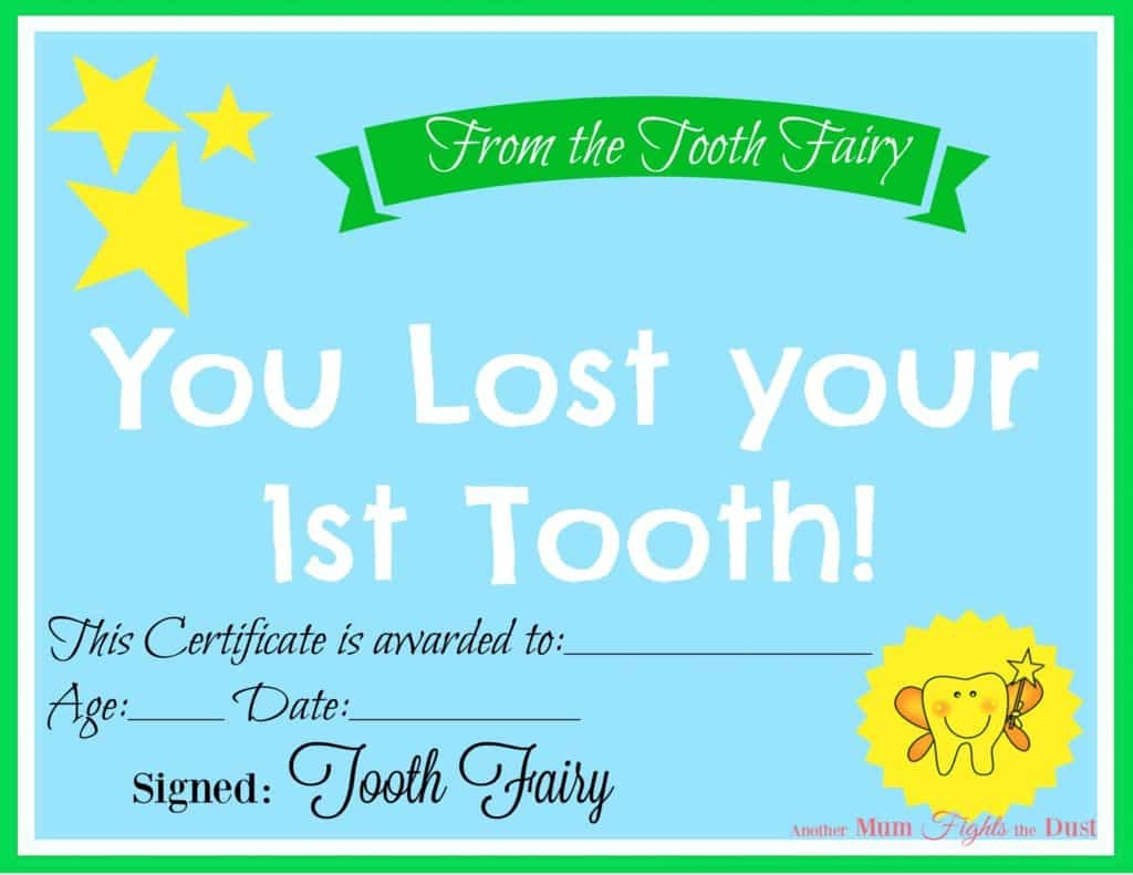 Free Printable Tooth Fairy Certificate - Another Mum Fights The Dust - Free Printable Tooth Fairy Certificate