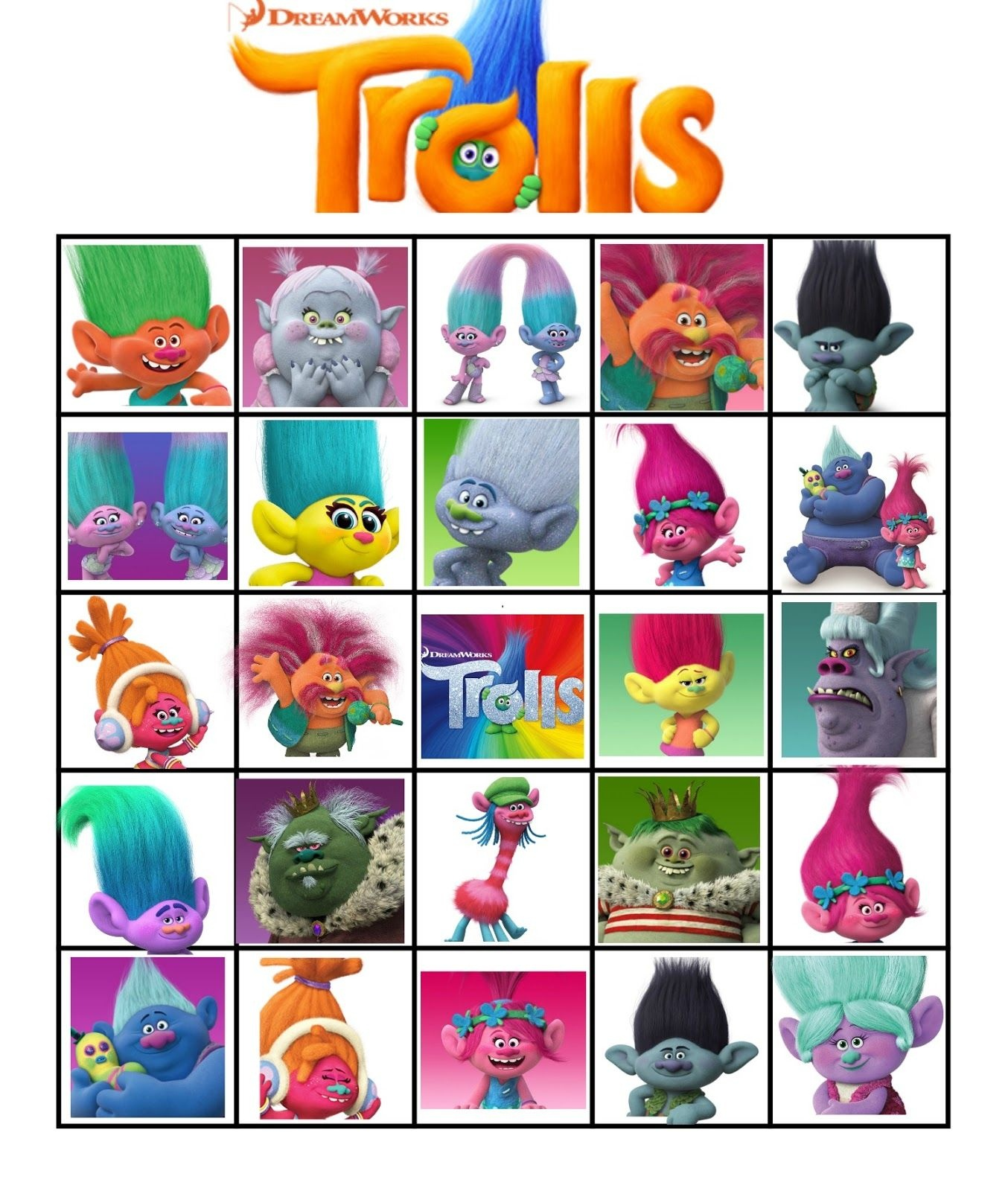 Free Printable Trolls Movie Bingo | Violet's 5Th Birthday | Troll - Free Trolls Photo Booth Props Printable
