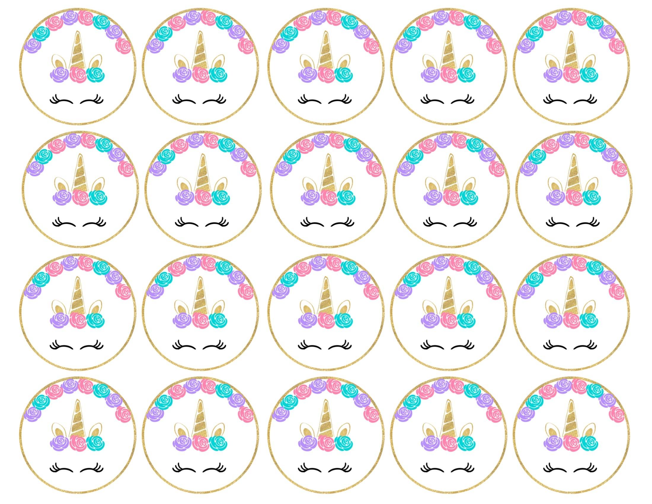 Free Printable Unicorn Cupcake Toppers - Paper Trail Design - Free Unicorn Party Printables