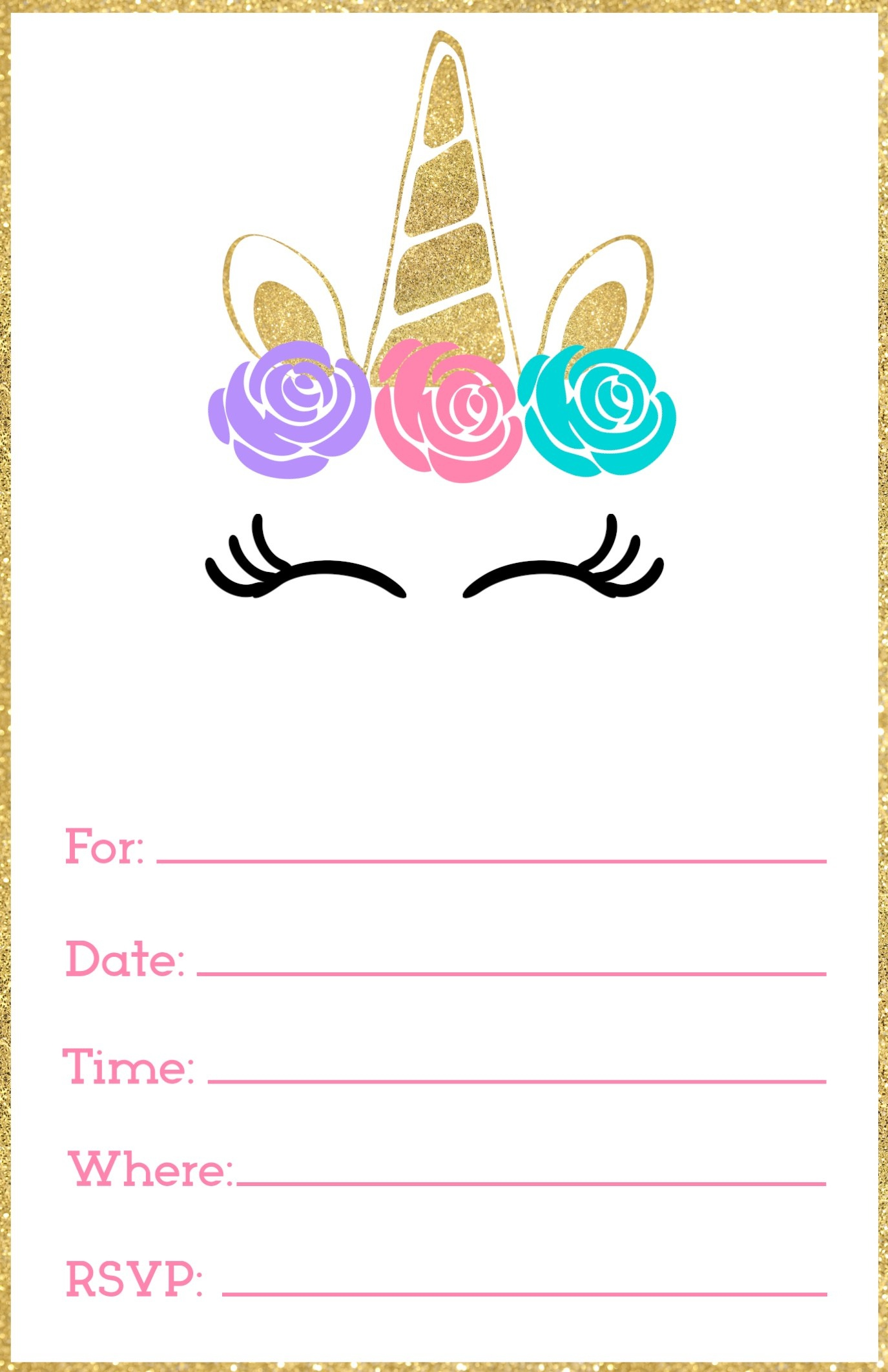 Free Printable Unicorn Invitations Template - Paper Trail Design - Free Printable Party Invitations