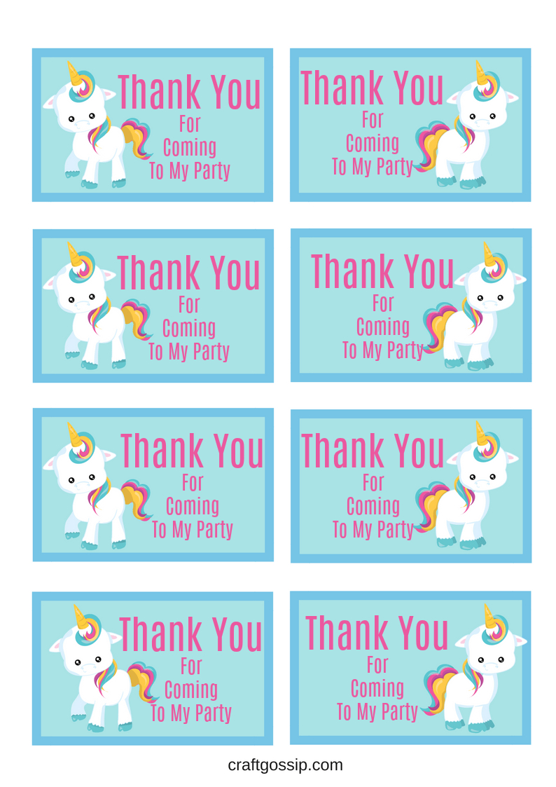 Free Printable Unicorn Party Gift Tag | Crafts | Unicorn Themed - Free Printable Thank You For Coming To My Party Tags