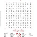 Free Printable   Valentine's Day Or Wedding Word Search Puzzle In   Free Printable Valentine Word Games