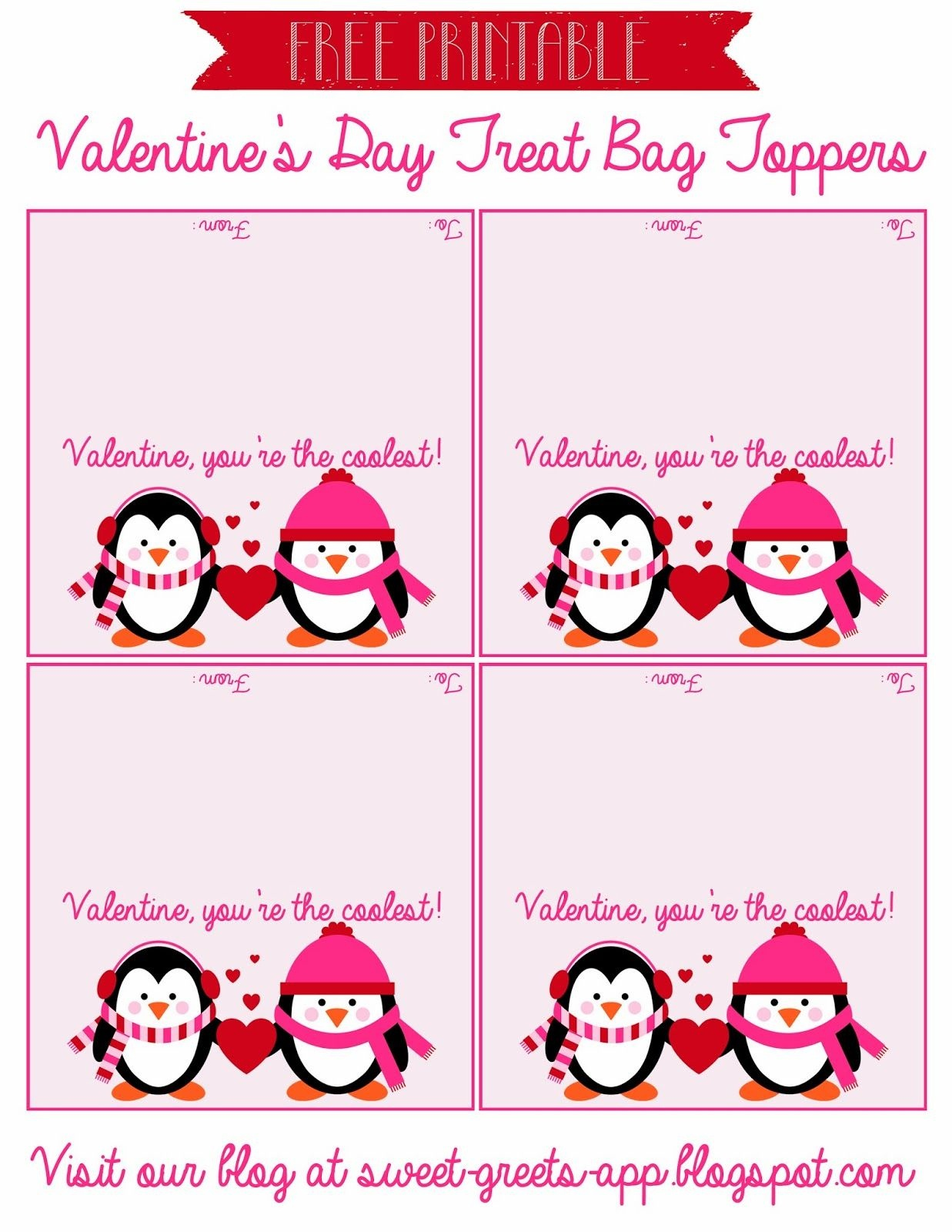 Free Printable Valentine's Day Treat Bag Toppers | Valentine's Day - Free Printable Bag Toppers