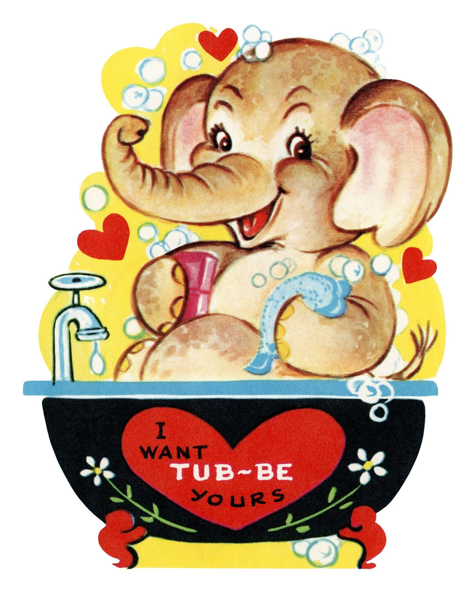 Free Printable Vintage Kids Valentine Elephant In Tub   Holidays - Free Printable Vintage Valentine Pictures