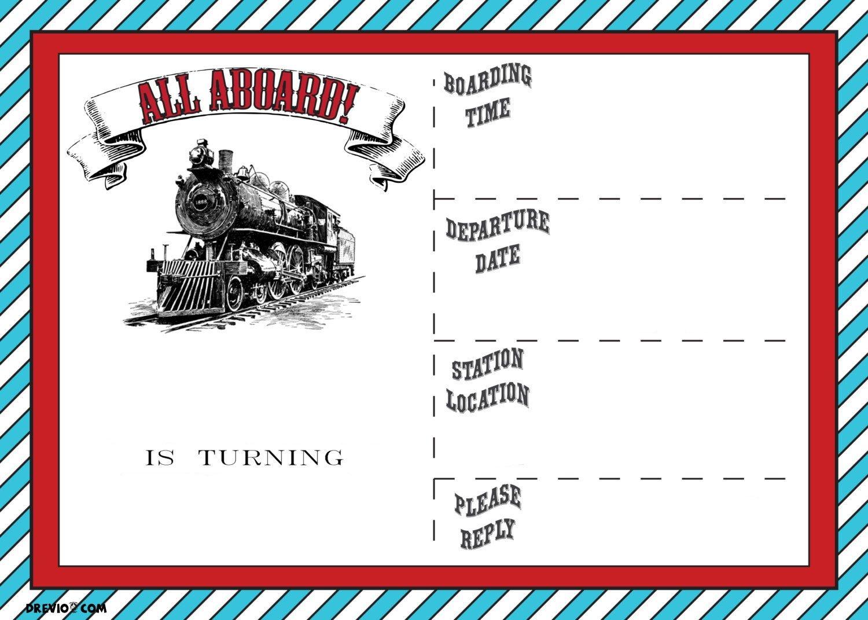 Free Printable Vintage Train Ticket Invitation   Free Printable - Free Printable Ticket Invitation Templates