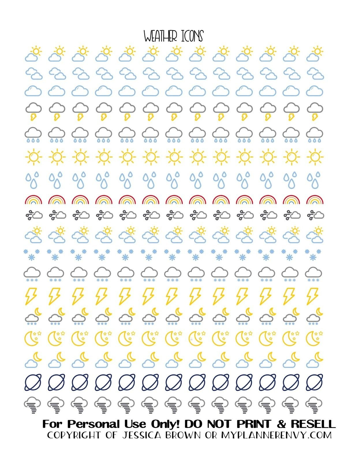 Free Printable Weather Icon Stickers From Myplannerenvy | Mijn - Free Printable Icons