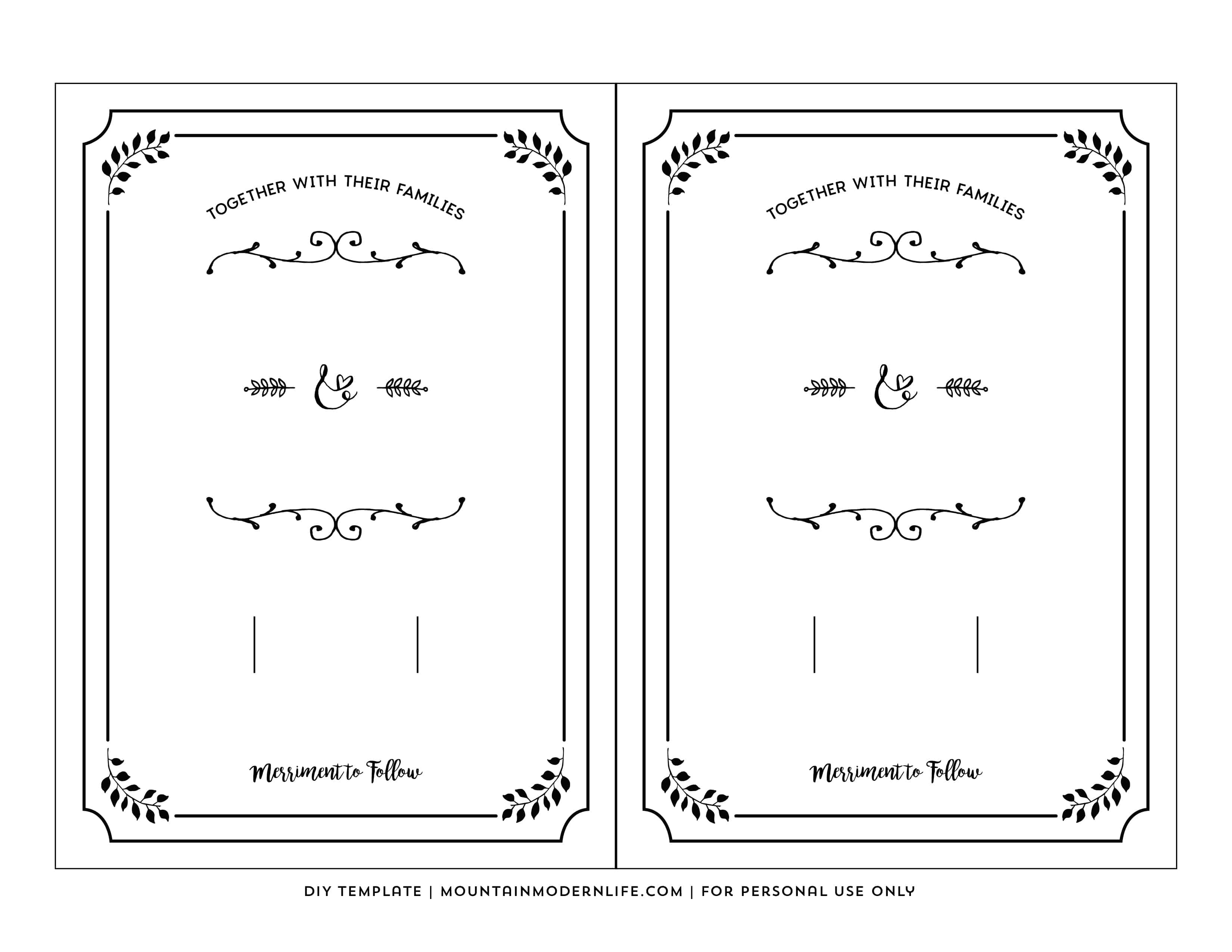 Free Printable Wedding Invitation Template - Free Printable Wedding Cards