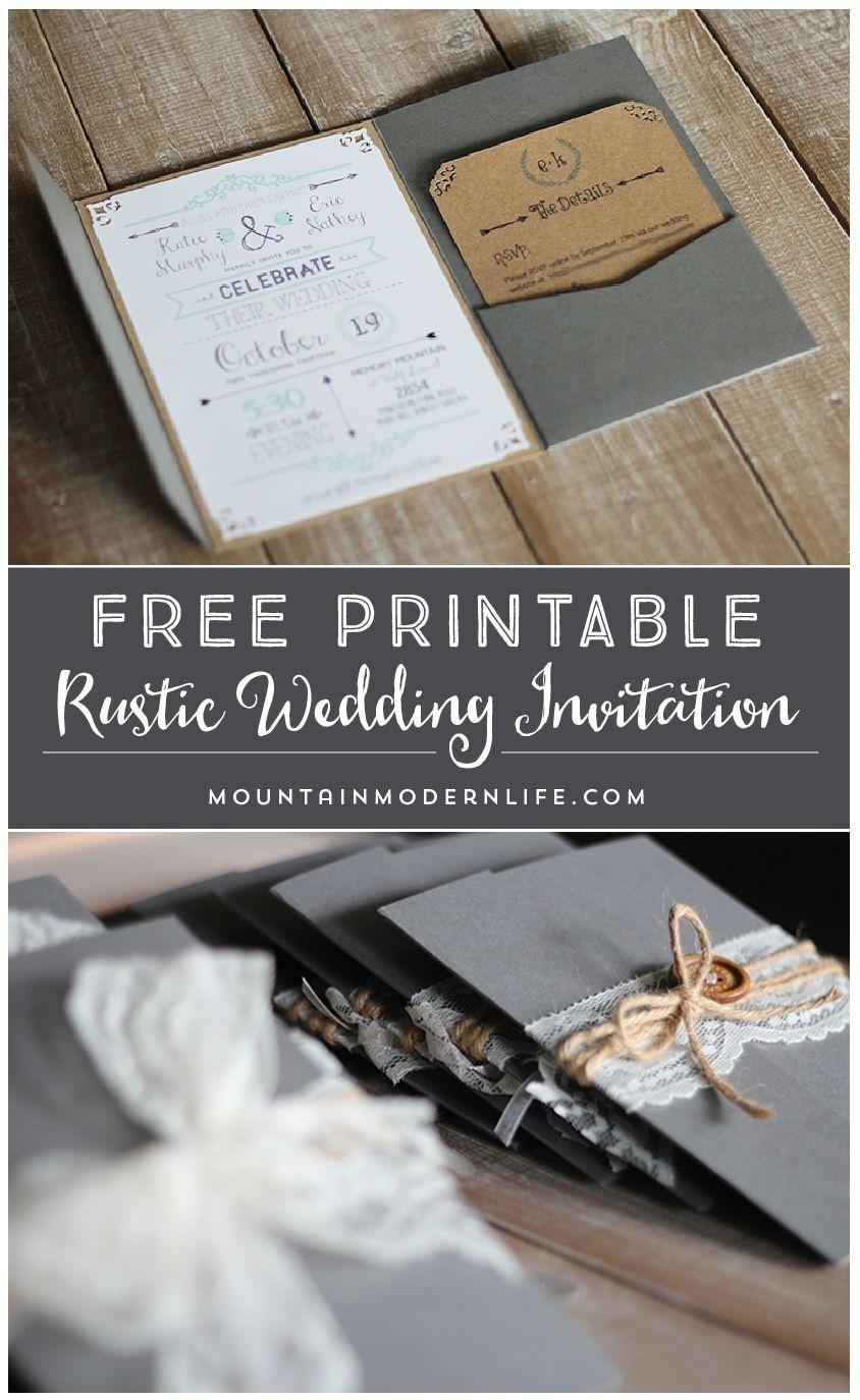 Free Printable Wedding Invitation Template | | Mountainmodernlife - Wedding Invitation Cards Printable Free