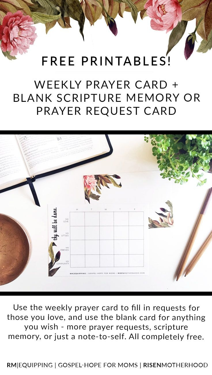 Free Printable: Weekly Prayer Card And Blank Prayer / Scripture Card - Free Printable Prayer Cards