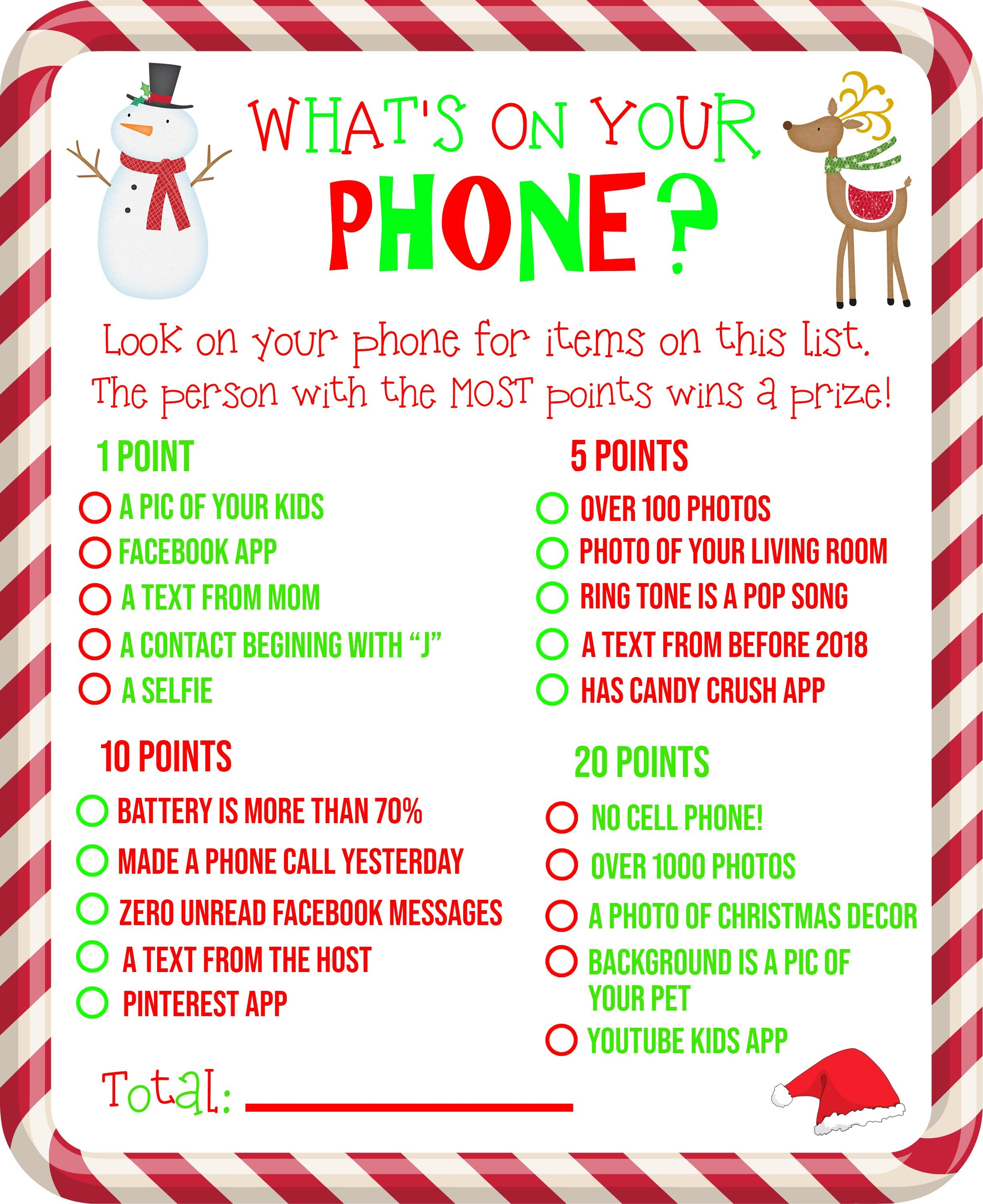 Free Printable! What's On Your Phone Christmas Party Game - Free Printable Christmas Games For Family Gatherings
