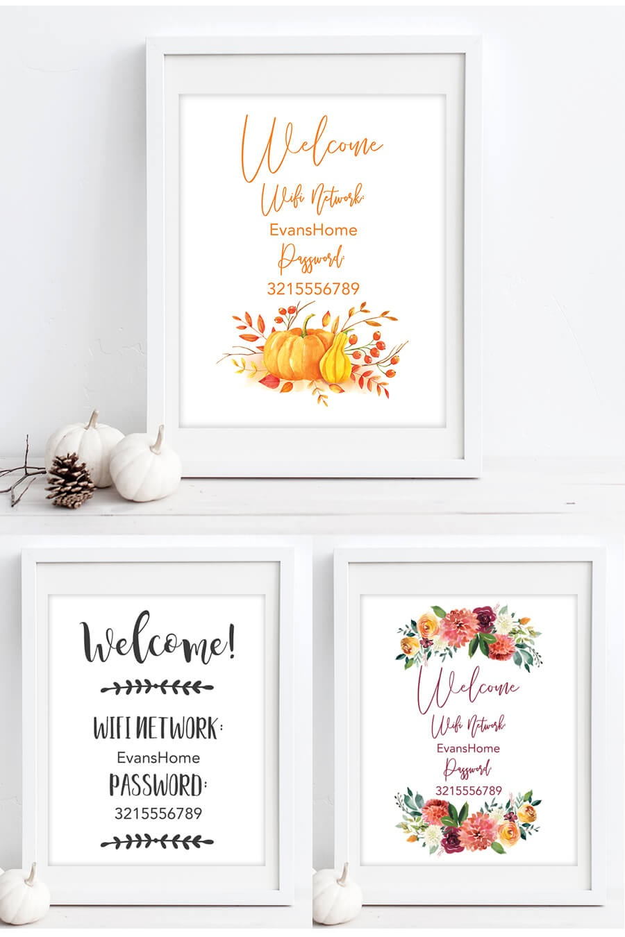 Free Printable Wifi Password Signs For Thanksgiving - Chicfetti - Free Wifi Password Printable