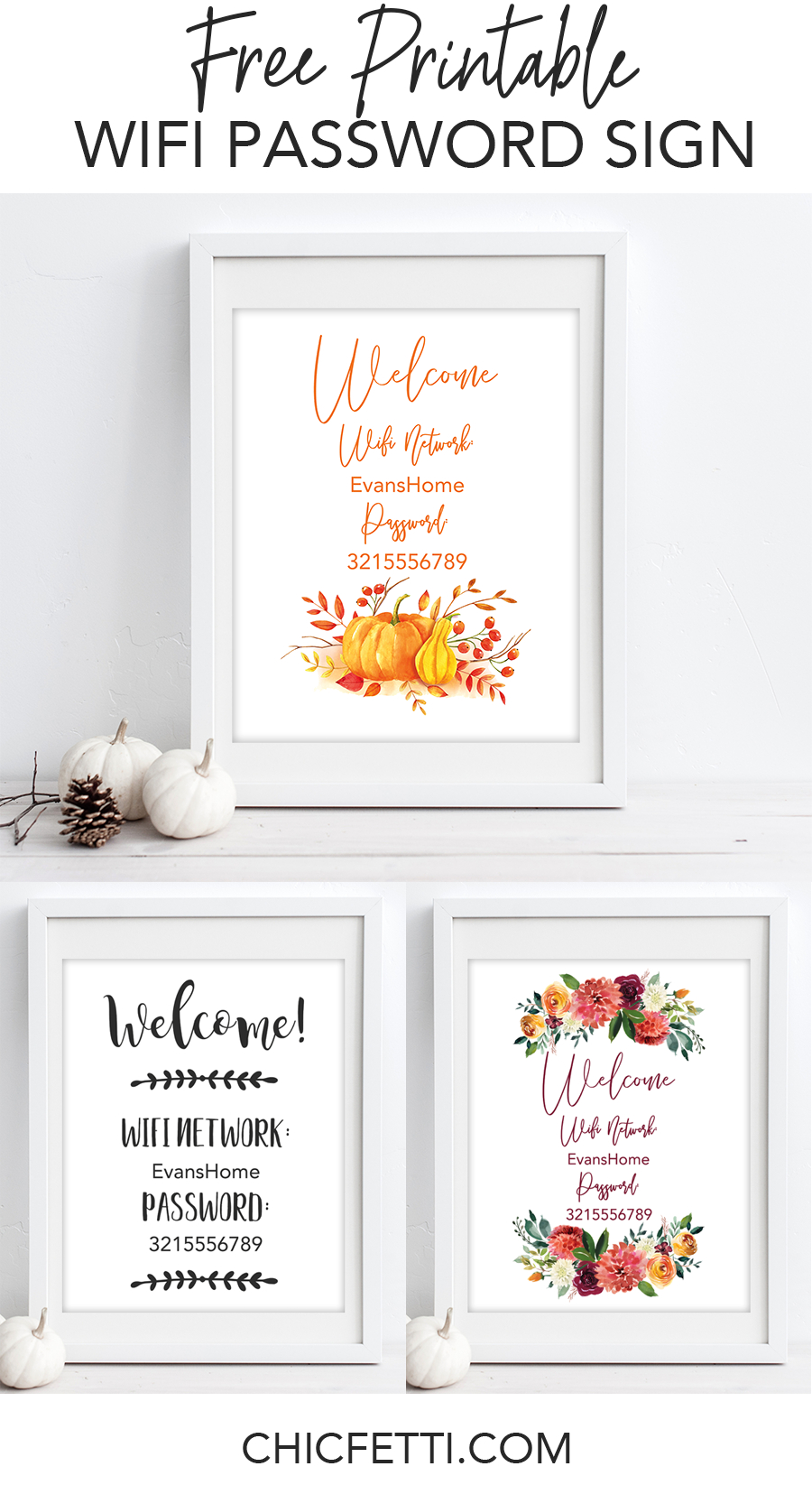 Free Printable Wifi Password Signs For Thanksgiving | Free - Free Printable Wifi Password Template
