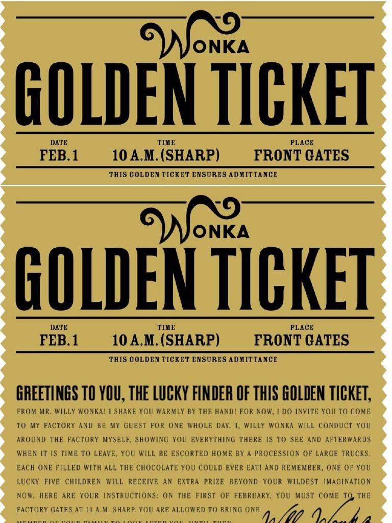 Free Printable Willy Wonka's Golden Ticket--Need To Have A Scrbd - Golden Ticket Printable Free
