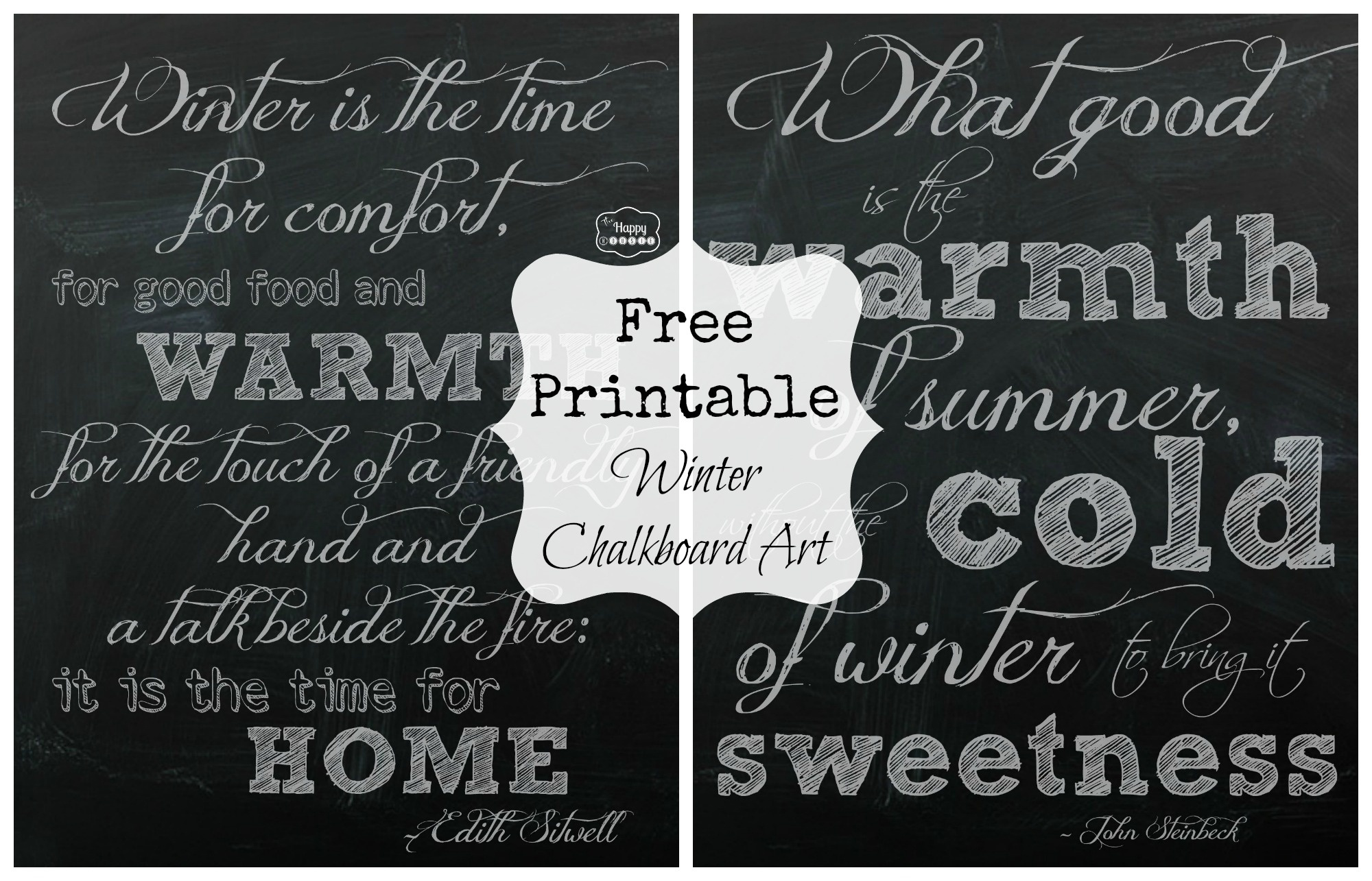 Free Printable Winter Chalkboard Art | The Happy Housie - Free Chalkboard Printables