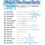 Free Printable Winter Game Match The Snow Facts Download | Winter   Free Printable Games For Adults
