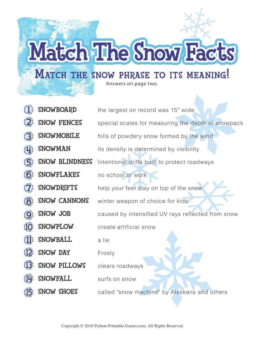 Free Printable Winter Game Match The Snow Facts Download | Winter - Free Printable Games For Adults