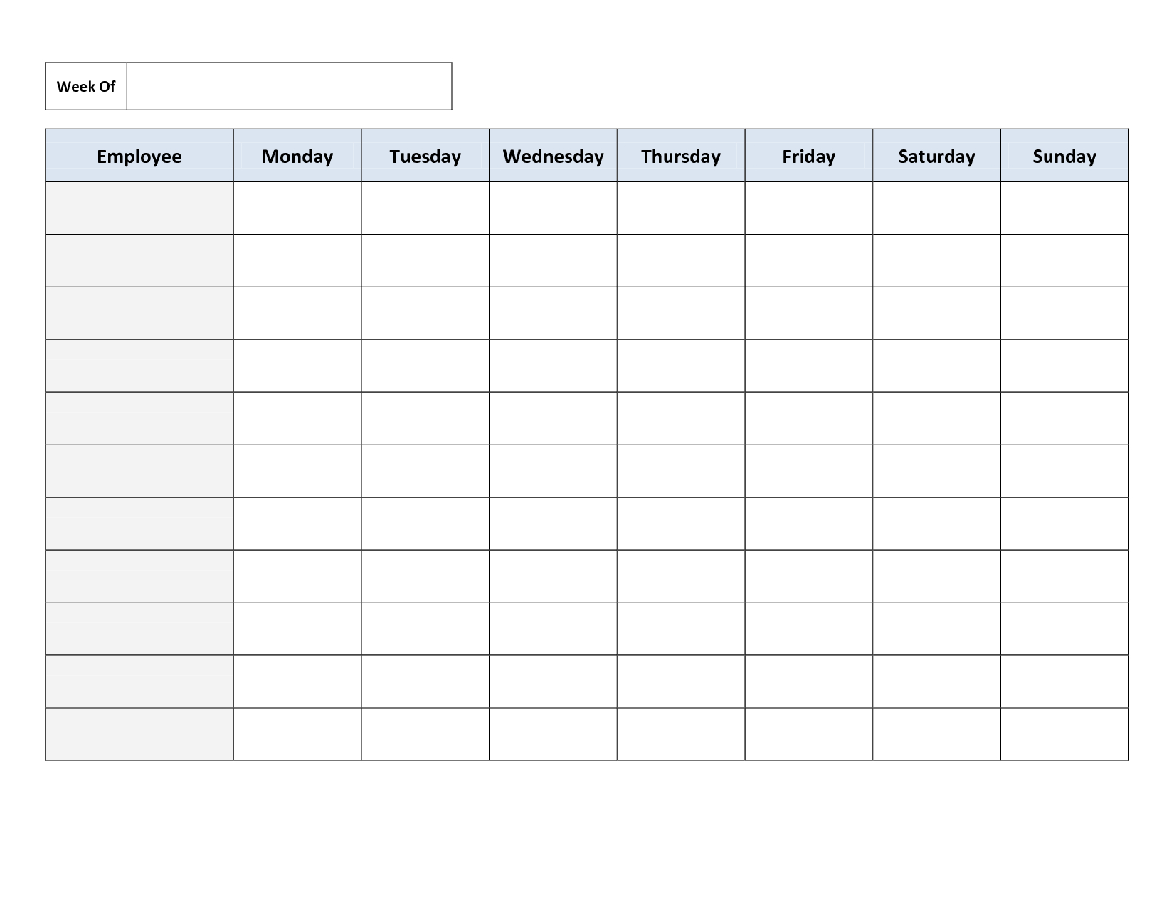 Free Printable Work Schedules | Weekly Employee Work Schedule - Free Printable Schedule