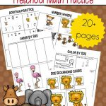 Free Printable Zoo Math Worksheets For Preschoolers   Free Zoo Printables For Preschool