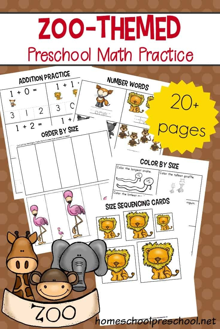 Free Printable Zoo Math Worksheets For Preschoolers - Free Zoo Printables For Preschool