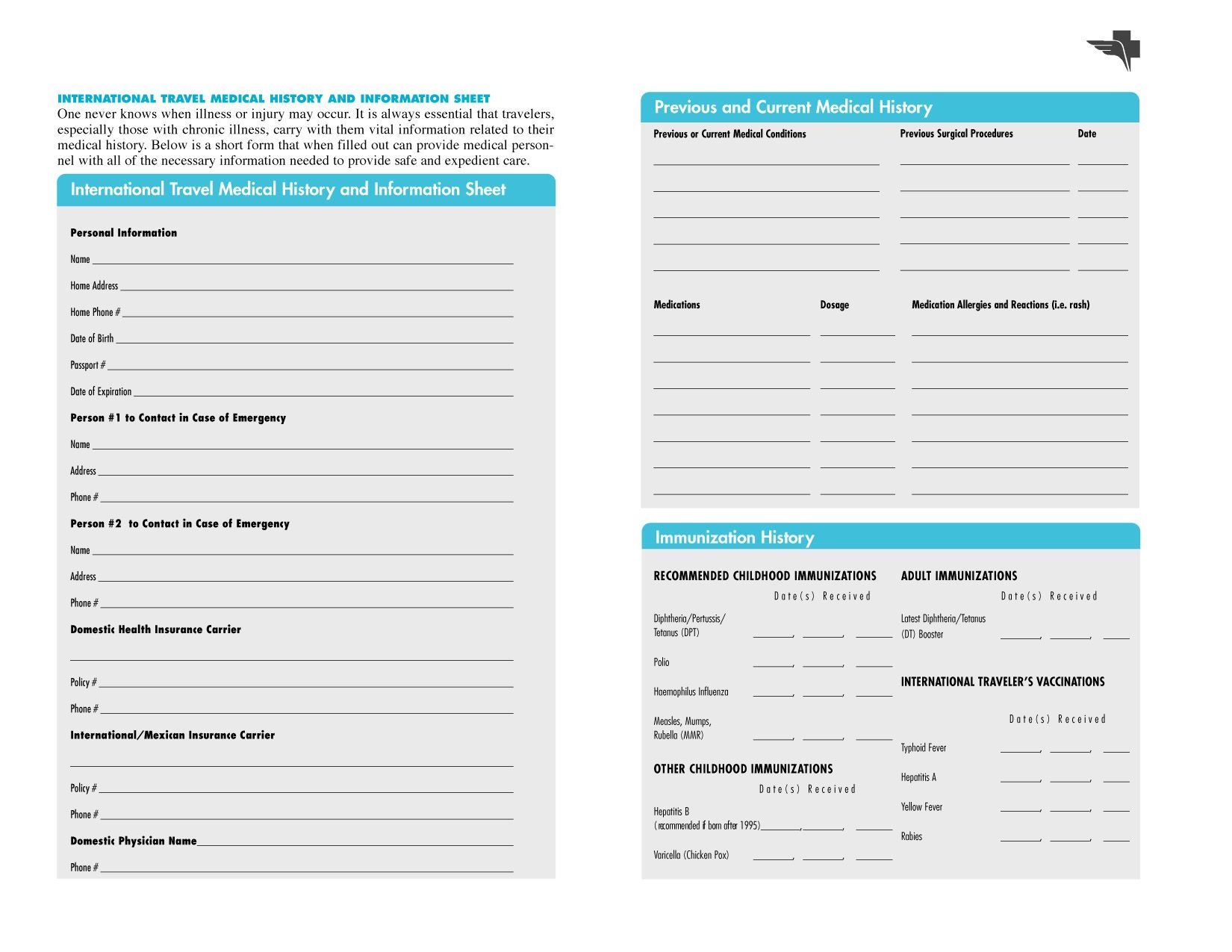 Free Printables | Free Printable Family Medical History Forms - Free Printable Emergency Medical Card