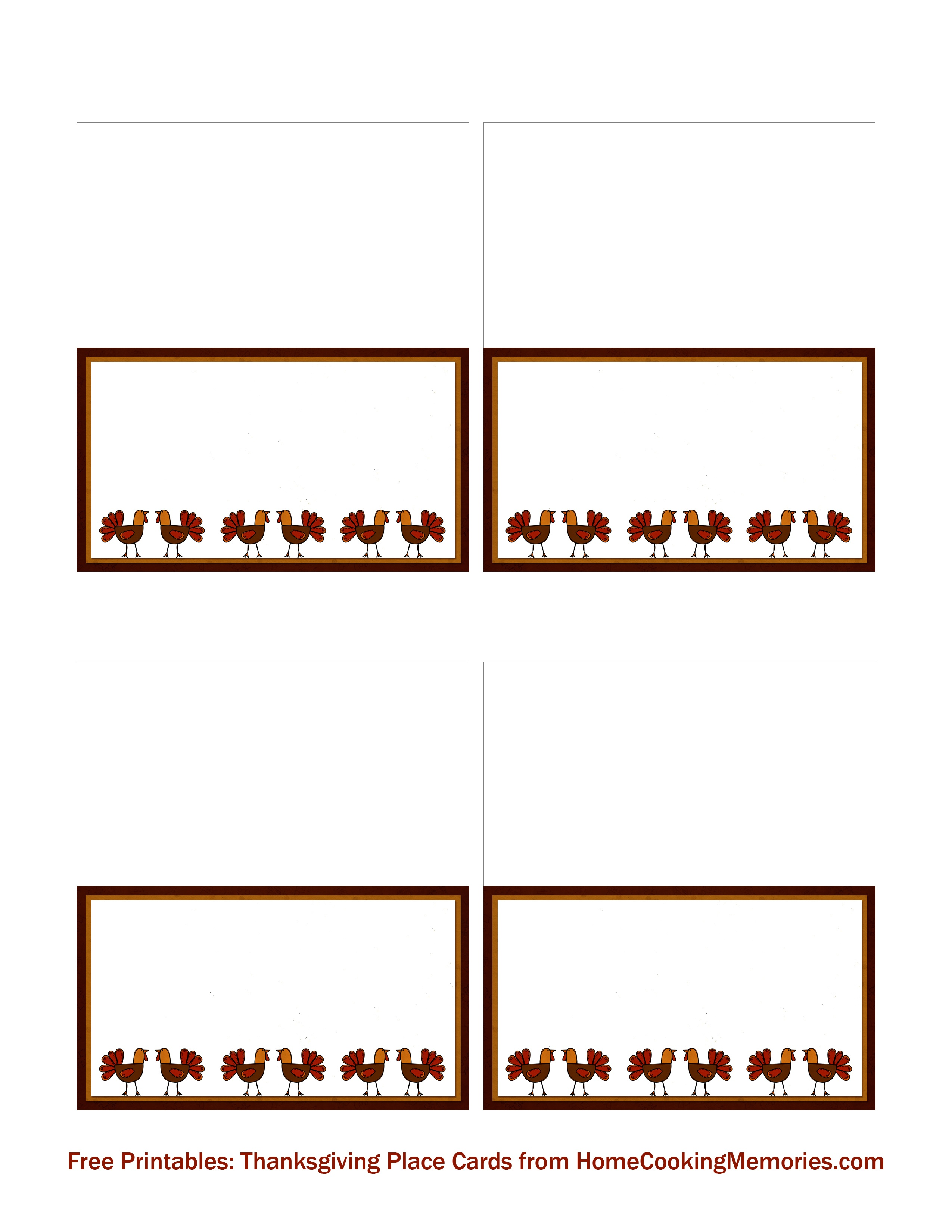 Free Printables: Thanksgiving Place Cards - Home Cooking Memories - Free Printable Place Cards Template