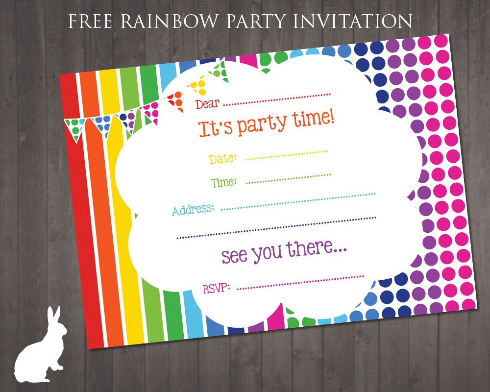 Free Rainbow Party Invitation | Free Party Invitationsruby And - Free Printable Party Invitations