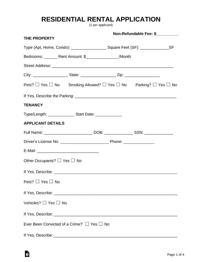 Free Rental Application Form - Pdf | Word | Eforms – Free Fillable Forms - Free Printable Rental Application Form