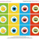 Free Sesame Street Printables | Party Circles Characters Colorblocks   Free Sesame Street Printables