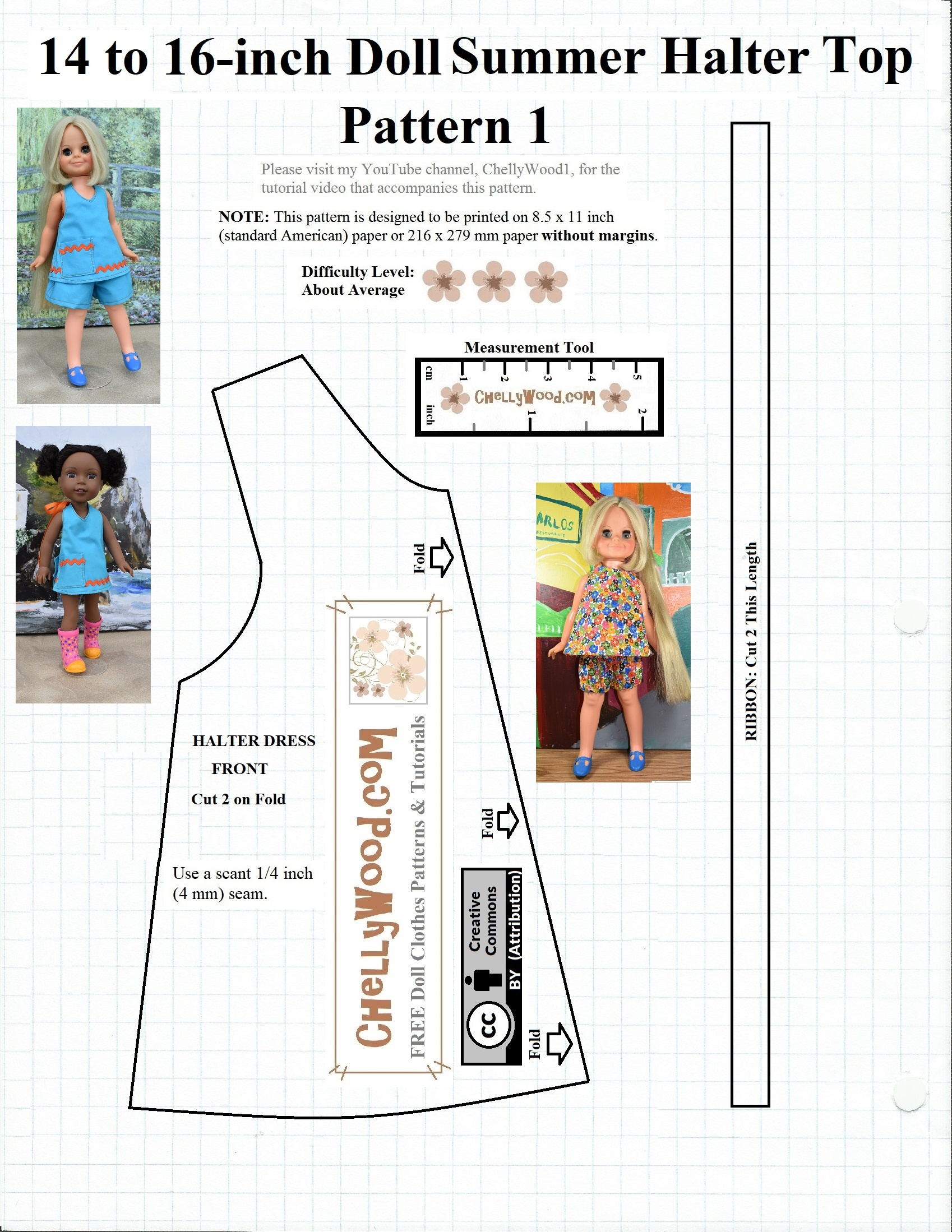 Free #sewing Pattern For 14″ (35 Cm) #dolls @ Chellywood #crafts - Free Printable Sewing Patterns For 18 Inch Doll Clothes