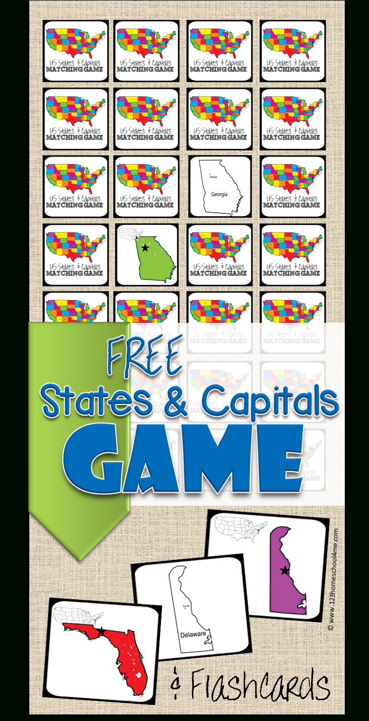 Free State Capitals Game | 123 Homeschool 4 Me - State Capital Flashcards Printable Free
