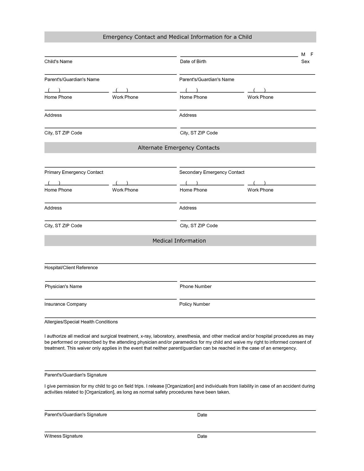 Free Student Information Sheet Template | Student Emergency Contact - Free Printable Contact Forms