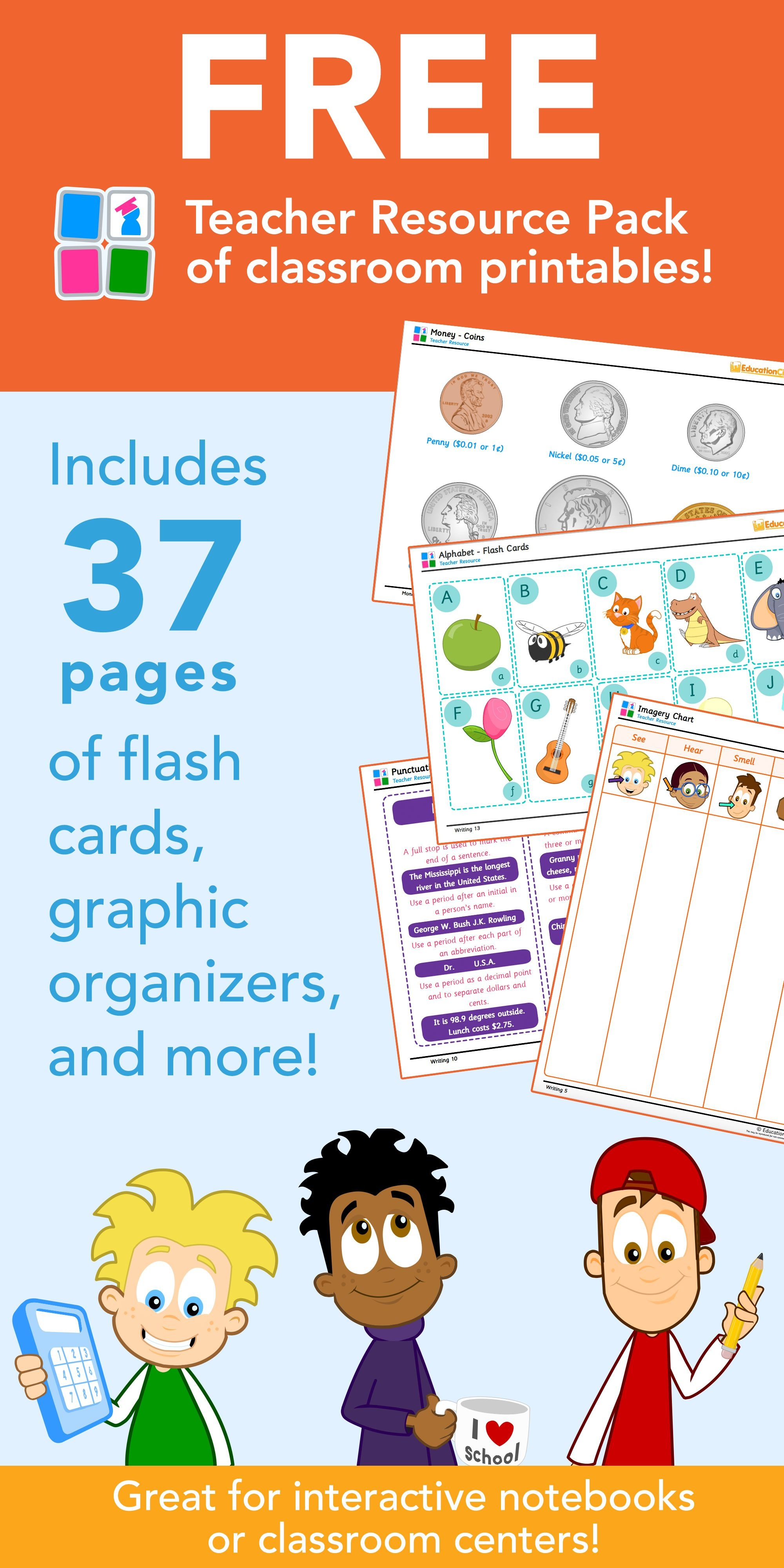 Free Teacher Resource Pack Of Classroom Printables -- 37 Pages Of - Free Teacher Resources Printables