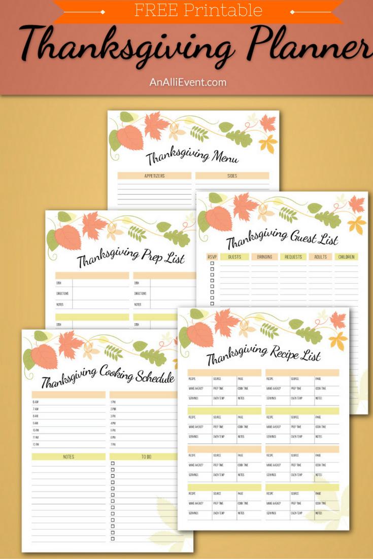 Free Thanksgiving Planner Printable - An Alli Event - Free Printable For Thanksgiving