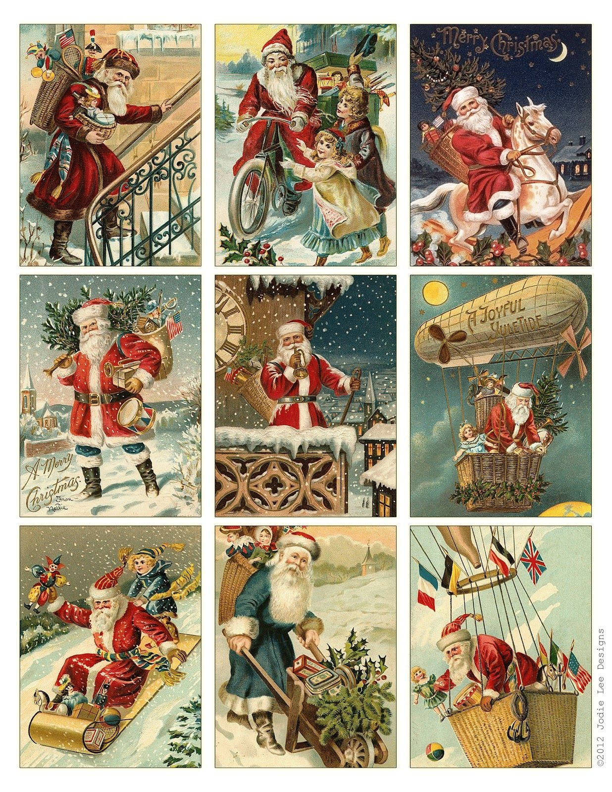 Free To Download! Printable Vintage Santa Tags Or Cards. | Free - Free Printable Vintage Christmas Images