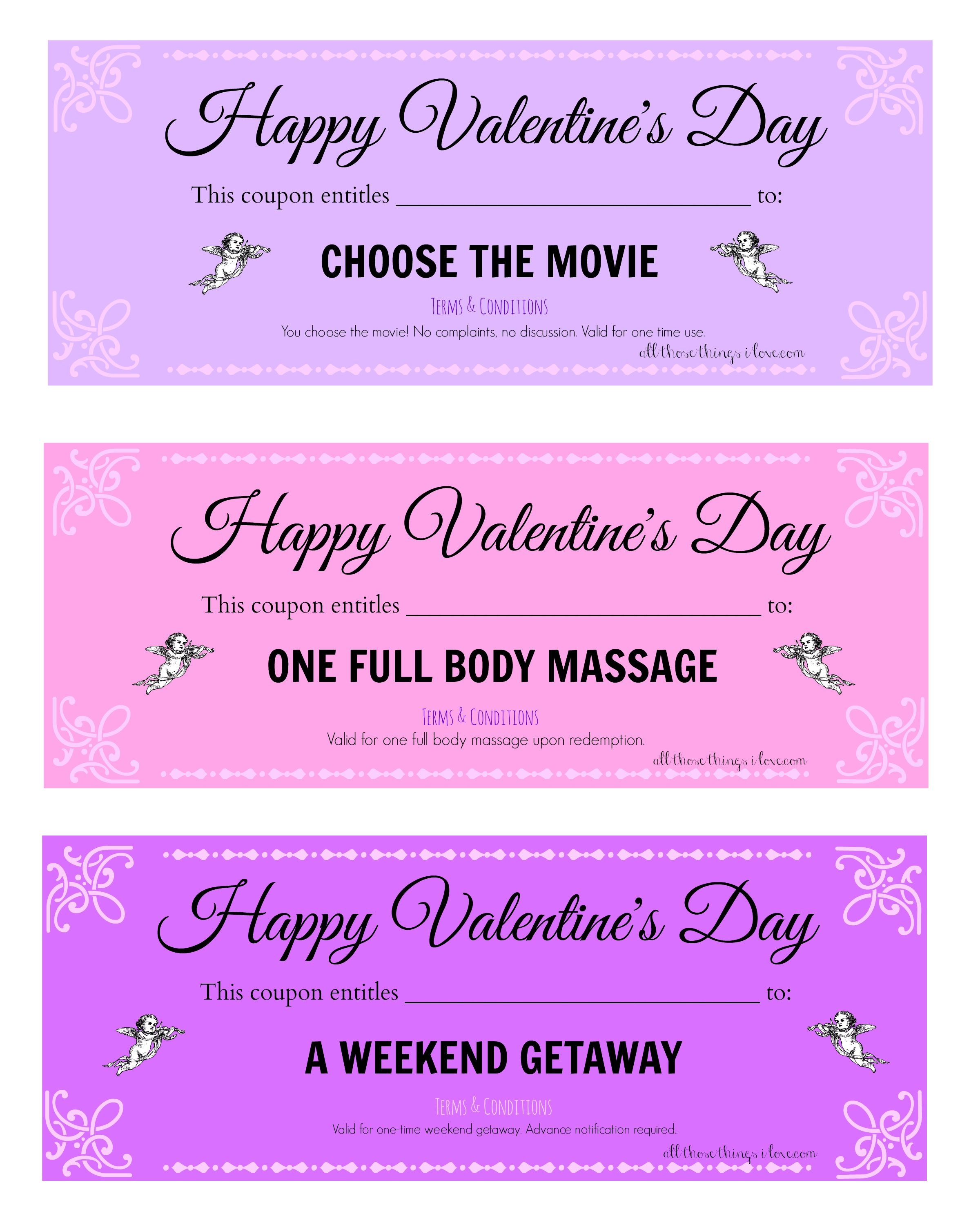 Free Valentine's Day Printable Love Coupons | Valentine | Love - Free Massage Coupon Printable