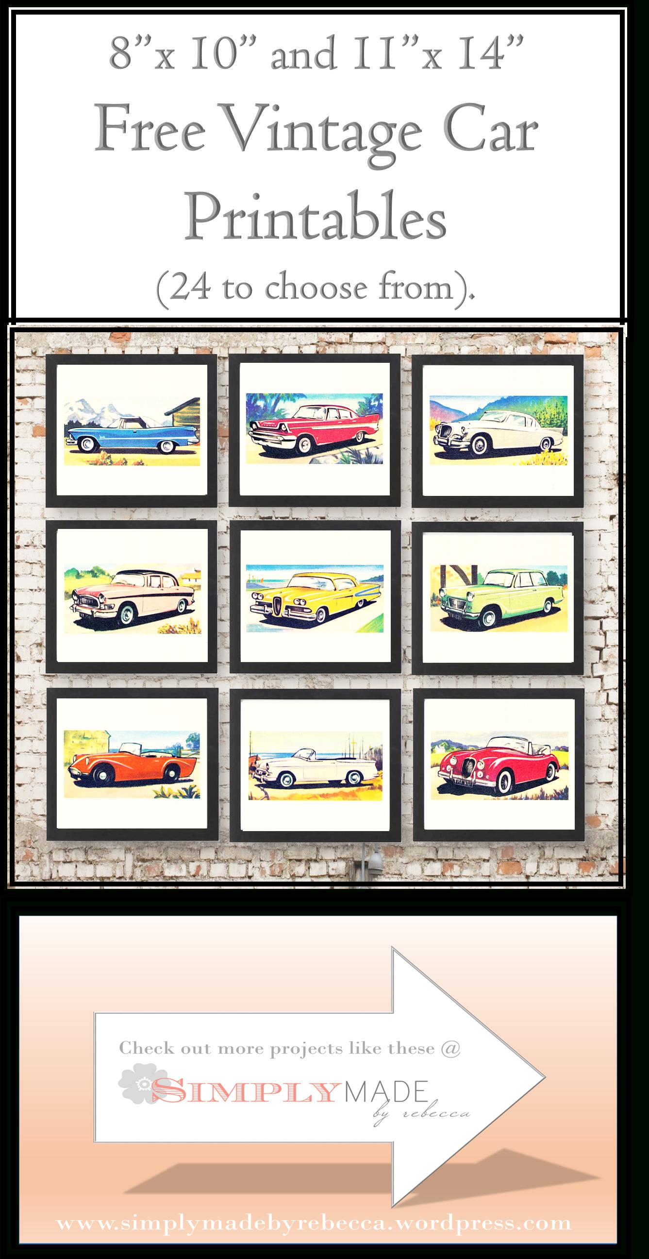 Free Vintage Car Printables | Cards - Downloadable Resources - Free Printable Nursery Resources