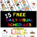 Free Visual Schedules – Little Puddins Free Printables   Free Printable Picture Schedule For Preschool