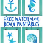 Free Watercolor Beach Printables   Free Printable Beach Pictures