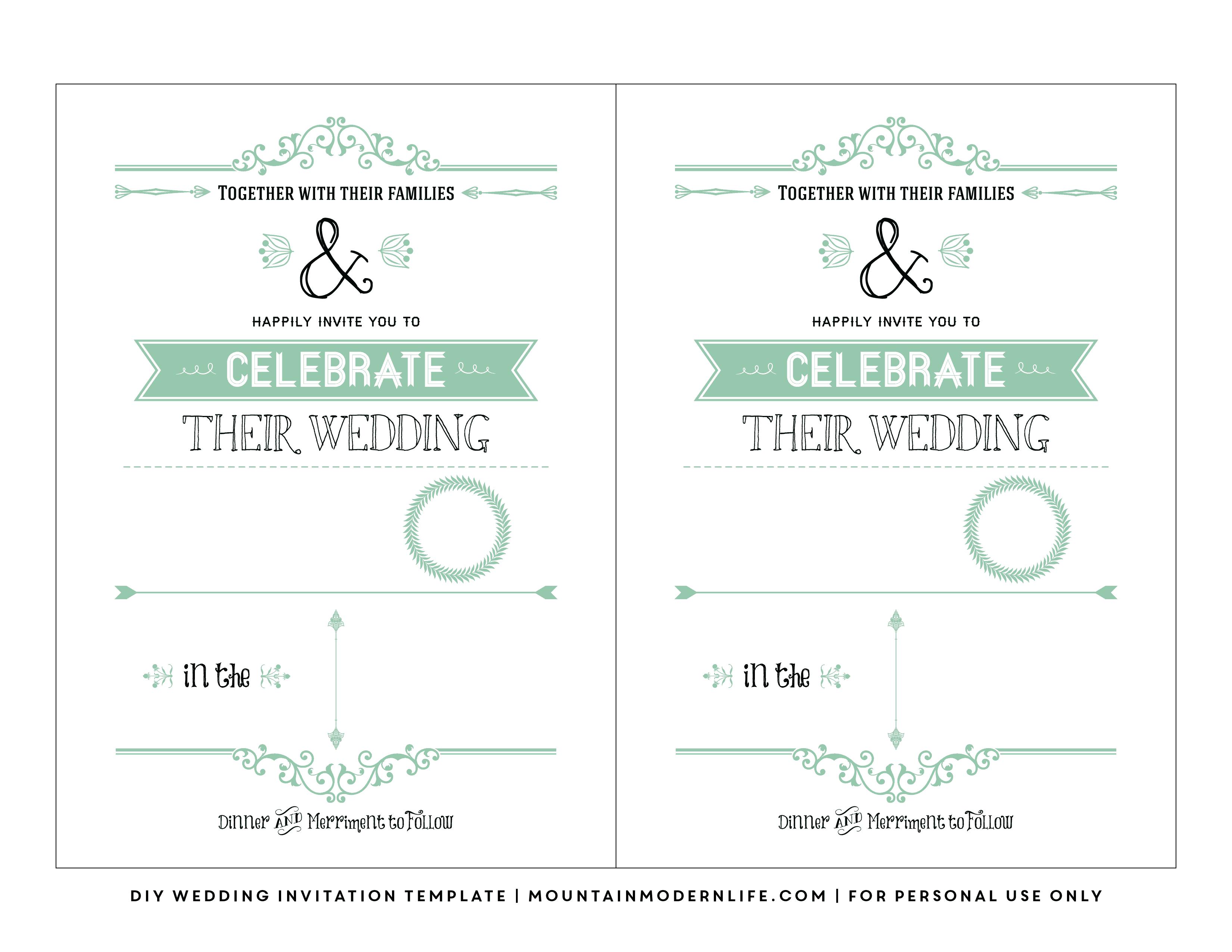 Free Wedding Invitation Template | Mountainmodernlife - Free Printable Postcard Invitations Template