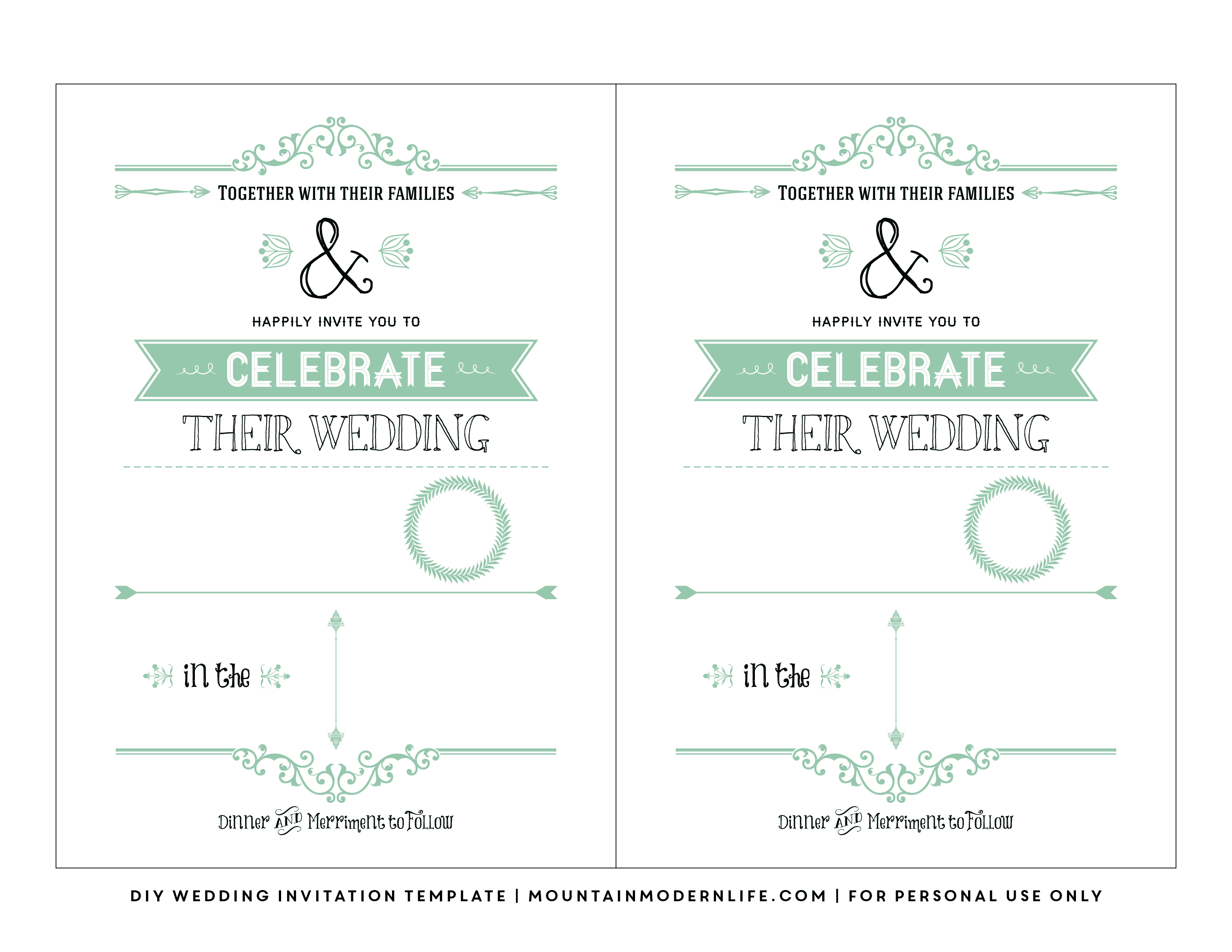 Free Wedding Invitation Template | Mountainmodernlife - Free Wedding Printables Templates